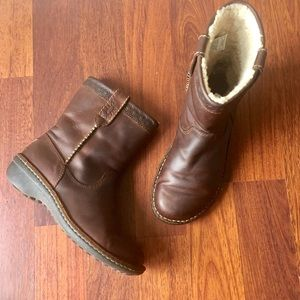 Ugg Australia Brown Leather Swell Ankle Boots 6